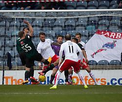 Raith Rovers Joel Thomas (hidden) scoring their goal. <br /> half time : Raith Rovers 1 v 0 Falkirk, Scottish Championship game played 23/4/2016 at Stark's Park.