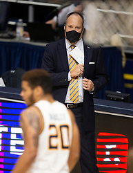 Feb 13, 2021; Berkeley, California, USA; California Golden Bears head coach Mark Fox watches his team take on the Colorado Buffaloes during the first half of an NCAA basketball game at Haas Pavilion. Mandatory Credit: D. Ross Cameron-USA TODAY Sports