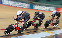 Team KGF (left-right) Charlie Tanfield, Dan Bigham and Jacob Tipper set the fastest time in qualifying for the Men's Team Pursuit, during day three of the HSBC UK National Track Championships at The National Cycling Centre, Manchester.