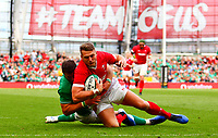Rugby Union - 2019 pre-Rugby World Cup warm-up (Guinness Summer Series) - Ireland vs. Wales<br /> <br /> Dan Biggar (Wales) attempts to get over the line while tackled by Robbie Henshaw (Ireland) at The Aviva Stadium.<br /> <br /> COLORSPORT/KEN SUTTON