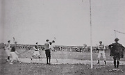 "This historic picture from the 1908 championship shows the old-style goalpots in use early in the 20th century. Note the knee-breeches and the shape of the hurleys then in use. Tipperary's Jim ""Hawk"" O'Brien is in the goal."