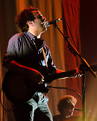 © Licensed to London News Pictures. 11/12/2012. London, UK.   Dawes performing live at The O2 Arena supporting Mumford & Sons. Dawes is an American rock band from Los Angeles, California, composed of brothers Taylor and Griffin Goldsmith, along with Wylie Gelber and Tay Strathairn.  Photo credit : Richard Isaac/LNP