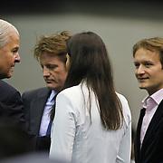 NLD/Rotterdam/20100214 - ABN - AMRO tennistoernooi 2010, finale Michail Joezjni - Robin Söderling, prins Pieter - Christiaan en partner Anita van Eijk in gesprek