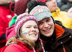 Supporters during Final Round at Day 1 of World Cup Ski Jumping Ladies Ljubno 2015, on February 14, 2015 in Ljubno, Slovenia. Photo by Vid Ponikvar / Sportida