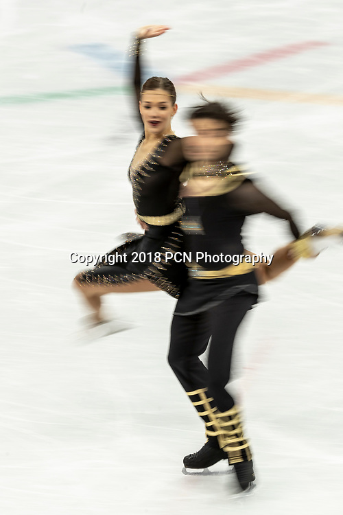 Motion blur action of Alisa Agafonova/Alper Ucar (TUR) in the Figure Skating - Ice Dance Free at the Olympic Winter Games PyeongChang 2018