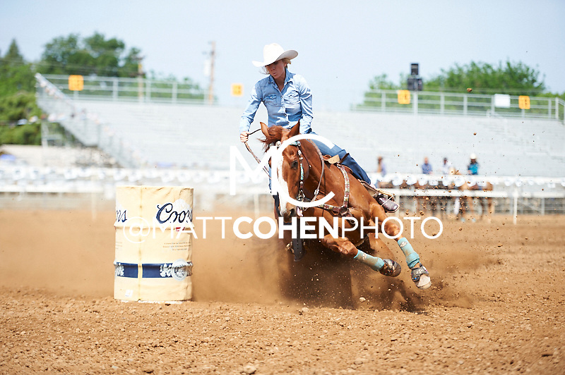 Barrel racer Ann Scott of Canyon Country, CA competes at the Red Bluff Round-Up at the Tehama District Fairgrounds in Red Bluff, CA.<br /> <br /> <br /> UNEDITED LOW-RES PREVIEW<br /> <br /> <br /> File shown may be an unedited low resolution version used as a proof only. All prints are 100% guaranteed for quality. Sizes 8x10+ come with a version for personal social media. I am currently not selling downloads for commercial/brand use.