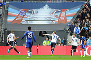 Tottenham's Harry Kane (10) runs away celebrating after he scores his teams 1st and equalising goal with team mates Christian Eriksen (23) and Kieran Trippier (16). The Emirates FA Cup semi-final match, Chelsea v Tottenham Hotspur at Wembley Stadium in London on Saturday 22nd April 2017.<br /> pic by Carl Robertson,  Andrew Orchard sports photography.