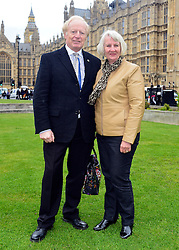 © Licensed to London News Pictures. 14/05/2013. Westminster, UK Trevor Murby and Mrs Murby. Patients campaigning for a life-saving treatment to be made available for all sufferers of the rare blood disease atypical Haemolytic Uraemic Syndrome (aHUS) present an urgent petition with over 30,000 signatures to MPs at the House of Commons on Tuesday May 14 2013... Photo credit : Stephen Simpson/LNP