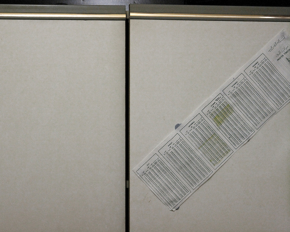 Prayer timetable on a cupboard