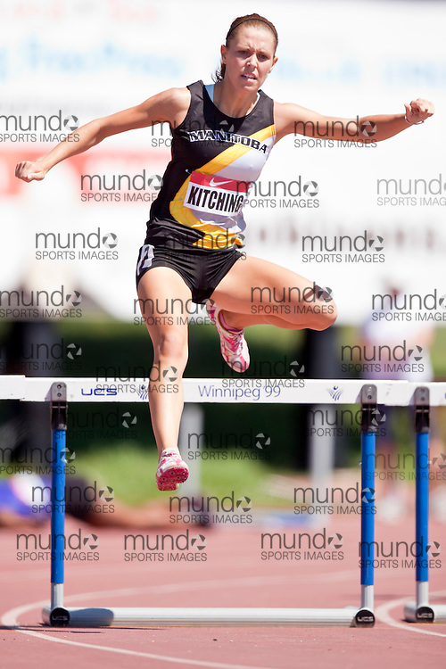 Winnipeg, Manitoba ---11-07-10--- Melissa Kitching competes in the 400 meters hurdles at the 2011 Canadian Junior National Track and Field Championships in Winnipeg, Manitoba,  July 10, 2011..GEOFF ROBINS/ Mundo Sport Images.