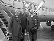 17th July 1961<br /> <br /> Minister for Finance, James Ryan, Taoiseach, Seán Lemass, and Frank Aiken pictured at Dublin airport before leaving for talks in London.