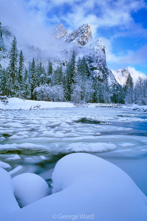 Snow Forms and the Merced Riverbelow the Three Brothers,Yosemite National Park, California