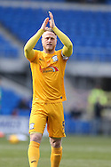 Tom Clarke , the Preston North End capt applauds the Preston fans. Skybet football league championship match, Cardiff city v Preston NE at the Cardiff city stadium in Cardiff, South Wales on Saturday 27th Feb 2016.<br /> pic by  Andrew Orchard, Andrew Orchard sports photography.