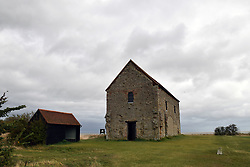 Chapel of St Peter-on-the-Wall, Bradwell-on-Sea, Essex, is one of the oldest largely intact Christian churches in England. Built on the site of a Roman fort Othona UK Sep 2019