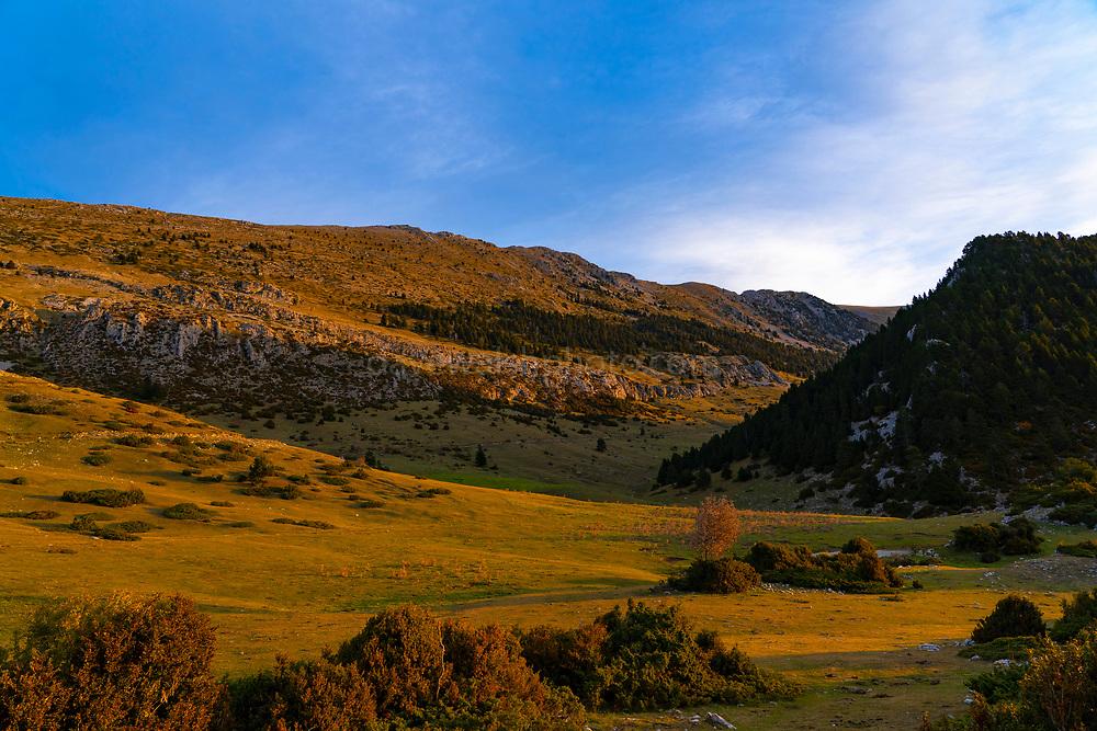 Sunrise near Coll de les Bassotes, Pedraforca, the forked mountain of Catalonia.