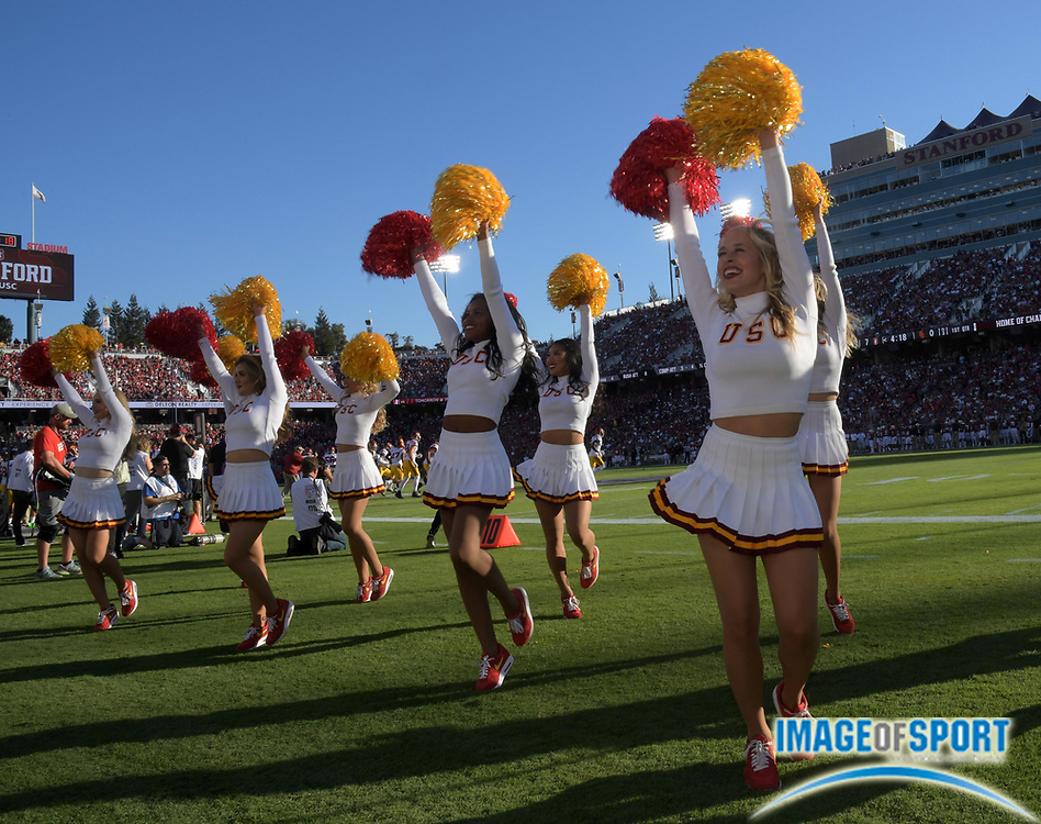 Sep 17, 2016; Stanford, CA, USA; USC Trojans song girls cheerleaders perform during a NCAA football game against the Stanford Cardinal at Stanford Stadium.