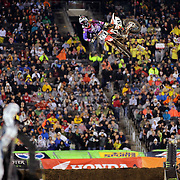 Justin Barcia, Honda, in action during the 450SX Class Championship during round 16 of the Monster Energy AMA Supercross series held at MetLife Stadium. 62,217 fans attended the event held for the first time at MetLife Stadium, New Jersey, USA. 26th April 2014. Photo Tim Clayton