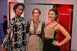 Left to right, AICHA MCKENZIE, LAURA PRADELSKA and LARA FRASER at the Fabergé #SayYesInColour Launch held at Rook & Raven, 7 Rathbone Place, London on 20th October 2016.