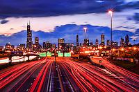 Chicago Skyline & Dan Ryan Expressway (Sunset)