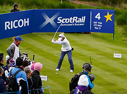 Auchterarder, Scotland, UK. 14 September 2019. Saturday afternoon Fourballs matches  at 2019 Solheim Cup on Centenary Course at Gleneagles. Pictured; Danielle Kang tee shot on short 4th hole.  Iain Masterton/Alamy Live News