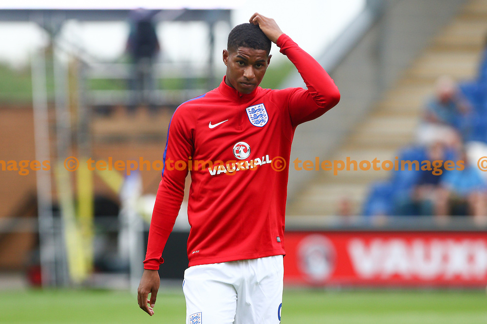 Marcus Rashford of England during the UEFA European U21 Championship match between England U21 and Norway U21 at the Weston Homes Community Stadium in Colchester. September 6, 2016.<br /> Arron Gent / Telephoto Images<br /> +44 7967 642437
