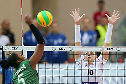 October 21, 2017 - Rzeszow, Poland - Angelica da Penha Correa Caboclo (Hapoel), Adela Helic (Developres),  in action during CEV Volleyballl Champions League volleybal women match between Developres Rzeszow and Hapoel Kfar Saba on 21 October 2017 in Rzeszow, Poland. (Credit Image: © Foto Olimpik/NurPhoto via ZUMA Press)