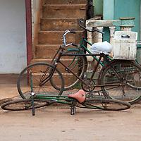 Central America, Cuba, Remedios. Cuban bicycles resting in Remedios.