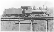 """RGS C-16 #19 stopped on Ames Bridge 43-A in order to supply the repair crew at the base of the trestle.<br /> RGS  Ames, CO  Taken by Virden, Walter - pre 1920<br /> In book """"Southern, The: A Narrow Gauge Odyssey"""" page 83<br /> Same image as RD155-133, RD155-138, RD171-020,RDS059-005 and RDS079-005.  See RD134-016 and RD155-137 for a companion photo.   Also in """"RGS II"""", p. 254 and """"RGS Story Vol. III"""", p. 73.<br /> Thanks to Don Bergman for additional information.<br /> In Dorman's """"Southern"""", he has erroneously located this as Bridge 45-A at Ophir.<br /> Also in """"RGS II"""", p. 254 (Dorman locates at Ophir 45-A) and """"RGS Story Vol. III"""", p. 73 (McCoy locates at Ames 43-A)."""
