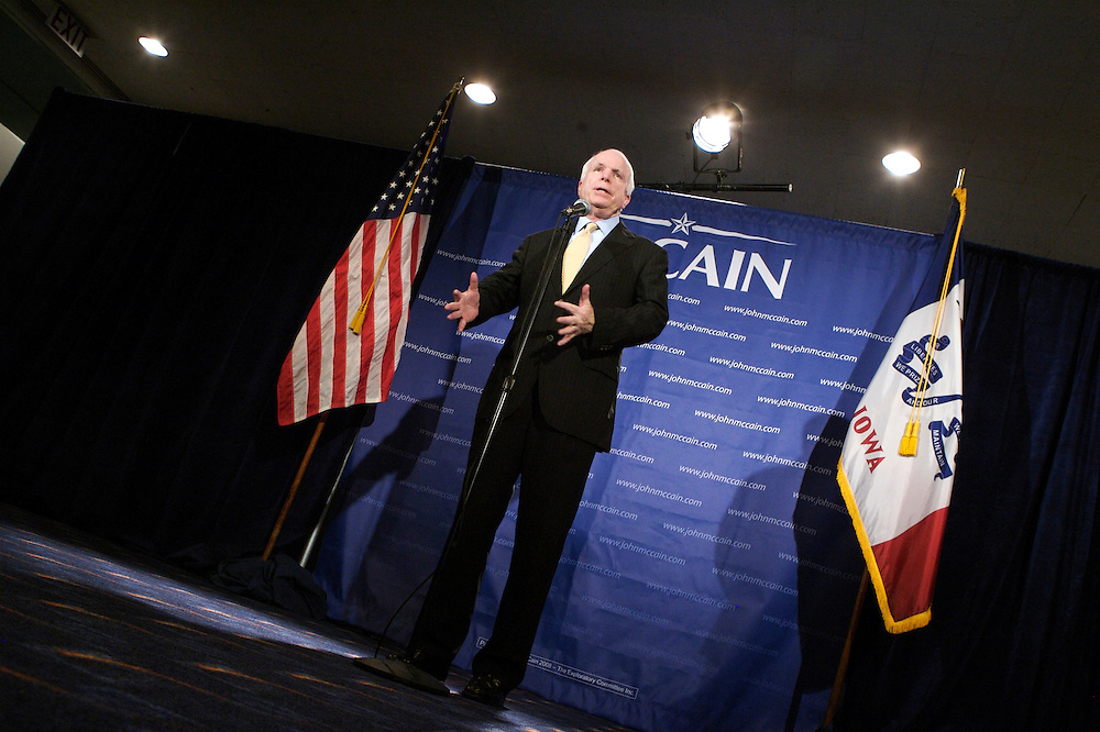 Presidential hopeful John McCain, R-AZ, talks to reporters Saturday, April 14, 2007 after speaking at the Lincoln Unity Dinner at the Polk County Convention Complex in Des Moines, Iowa. Copyright Scott Morgan 2007