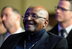 Cape Town 180724 Desmond Tutu during the the unveiling of Nelson Mandela Statue. A statue of former President Nelson Mandela  unveiled in Cape Town to coincide with centenary celebrations to honour the country's first democratically elected president, who died on December, 5, 2013, at the age of 95. City of Cape Town positioned the statue on the balcony where Mandela stood when he gave his first address as a free man on February 11, 1990 Picture Ayanda ndamane African News Agency ANA
