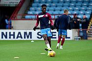 Scunthorpe United forward Ike Ugbo as he warms up for the The FA Cup 1st round match between Scunthorpe United and Burton Albion at Glanford Park, Scunthorpe, England on 10 November 2018.