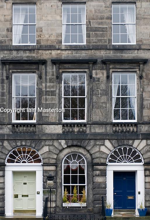 Elegant Georgian facade of historic buildings in New Town area of Edinburgh Scotland