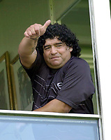 18/04/04 - DIEGO MARADONA WAS INTERNED AT HOSPITAL - Buenos Aires - Argentina. <br />The ex Argentinean football player was interned at hospital yestarday night.<br />Here DIEGO MARADONA at Bombonera Stadium some hours before his internation.<br />©Argenpress.com