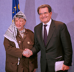 BRUSSELS, BELGIUM - MAY 31, 2001 - Yasser Arafat, leader of the PLO (left) is greeted by Romano Prodi, President of the European Commission (right)  at  the European Commission, in Brussels, Thursday. (PHOTO © JOCK FISTICK)