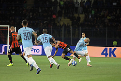 October 23, 2018 - Kharkiv, Ukraine - Forward Junior Moraes (2nd R) of FC Shakhtar Donetsk and midfielder David Silva (R) of Manchester City FC are seen in action during the UEFA Champions League Group F Matchday 3 game at the Metalist Stadium Regional Sports Complex, Kharkiv, northeastern Ukraine, October 23, 2018. Ukrinform. (Credit Image: © Vyacheslav Madiyevskyy/Ukrinform via ZUMA Wire)