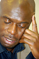 Photo: Leigh Quinnell.<br /> Nottingham Forest v Swindon Town. Coca Cola League 1. 25/02/2006. Swindon Manager Iffy Onuora shows his pain in the after match press conference.