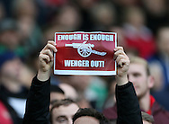 An Arsenal fan with a Wenger out sign<br /> <br /> Barclays Premier League- West Bromwich Albion vs Arsenal - The Hawthorns - England - 29th November 2014 - Picture David Klein/Sportimage