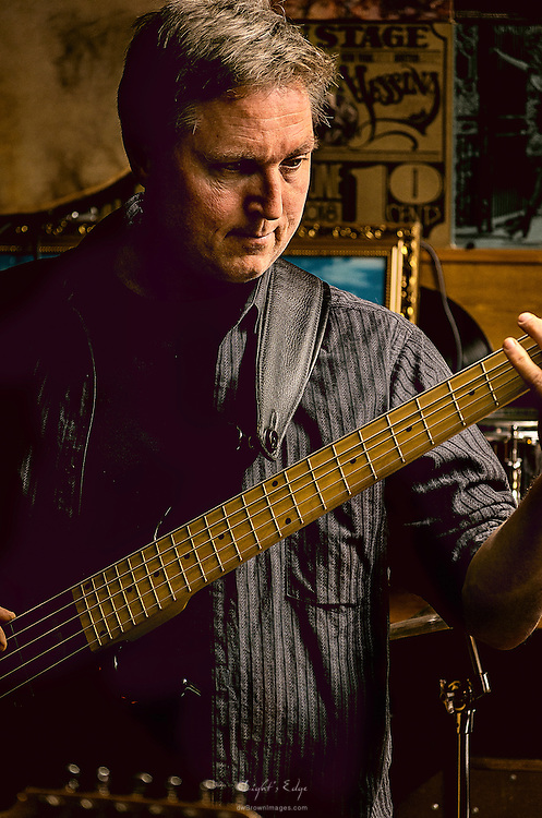 Jerry Gebbie on bass with Blue Wave Theory at The Bus Stop Music Cafe, in Pitman, NJ,  during a triple header.