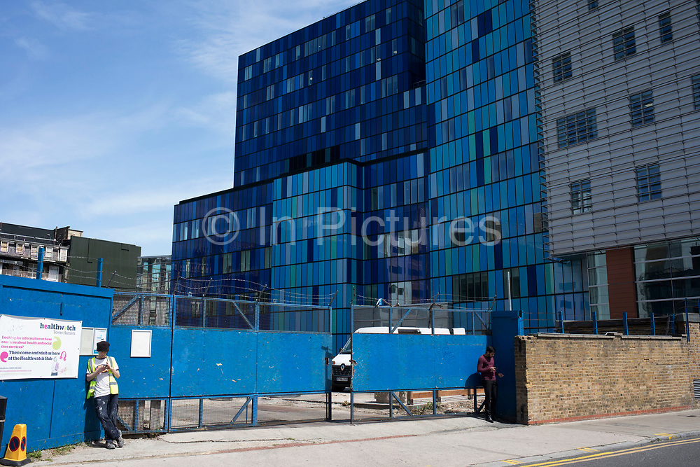Europes biggest hospital The Royal London and Barts. After many years in the planning the Department of Health gave its approval for the construction of new hospitals at The Royal London, a state-of-the-art new building which sits behind the historic front block overlooking the Whitechapel Road. This blue glass structure is massive in scale and a modern architectural testiment to the NHS.