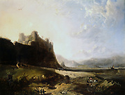 Harlech Castle, Wales.  By John Wright Oakes  (1820-1887) English landscape painter.  Oil on canvas.