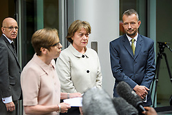 © Licensed to London News Pictures. 18/07/2018. London, UK. FRAN UNSWORTH (second left), Head of BBC News, stands next to JONATHAN MUNRO (right), Head of Newsgathering, as she reads a statement to media outside the Rolls Building of the High Court in London where judges ruled in favour of a claim by Sir Cliff Richard for damages against the BBC for loss of earnings. The 77-year-old singer sued the corporation after his home in Sunningdale, Berkshire was raided following allegations of sexual assault made to Metropolitan Police. Photo credit: Ben Cawthra/LNP