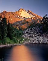 Evening light on Mount Jefferson from Bays Lake, Mount Jefferson Wilderness, Oregon