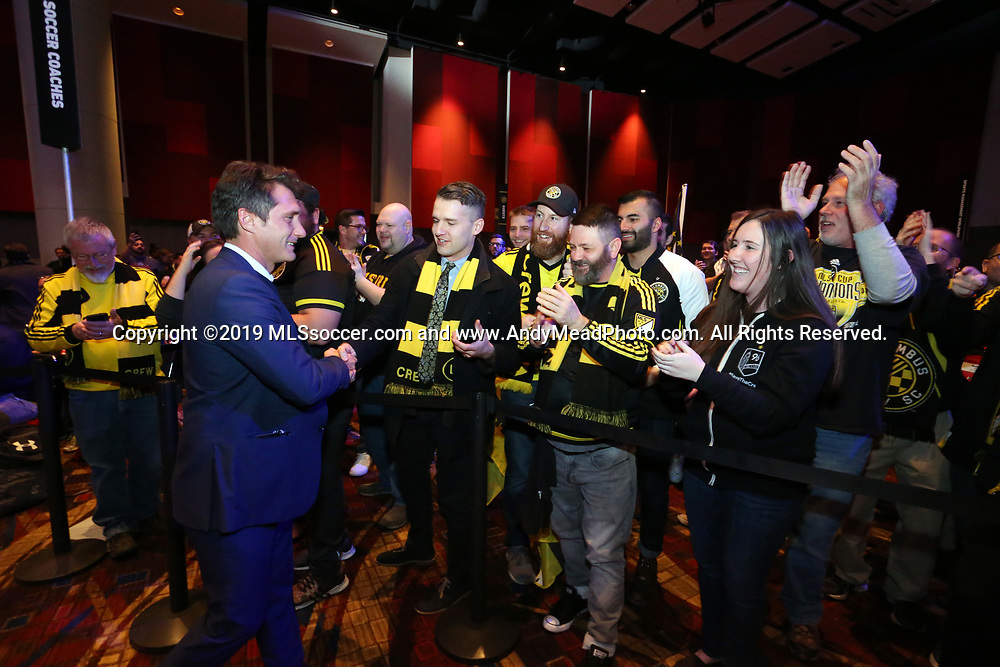 CHICAGO, IL - JANUARY 11: Los Angeles Galaxy head coach Guillermo Barros Schelotto (left), a former Columbus Crew legend, meets with Columbus Crew SC supporters before the draft. The MLS SuperDraft 2019 presented by adidas was held on January 11, 2019 at McCormick Place in Chicago, IL.
