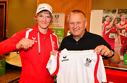 16.07.2016, Hotel Mariott, Wien, AUT, Olympia, Rio 2016, Einkleidung OeOC, im Bild Sabrina Filzmoser (Judo) nd Willi Grims ( Erima) // during the outfitting of the Austrian National Olympic Committee for Rio 2016 at the Hotel Mariott in Wien, Austria on 2016/07/16. EXPA Pictures © 2016, PhotoCredit: EXPA/ Erich Spiess