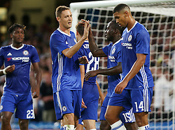 23 August 2016 - EFL Cup - Chelsea v Bristol Rovers<br /> Nemanja Matic of Chelsea gives goal scorer Victor Moses of Chelsea a high five<br /> Photo: Charlotte Wilson