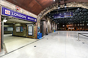 April 8, 2020, London, England, United Kingdom: Most of London underground stations are seen nearly empty with many of them closed in an attempt to reduce the spread of coronavirus. Wednesday, April 8, 2020. (Credit Image: © Vedat Xhymshiti/ZUMA Wire)