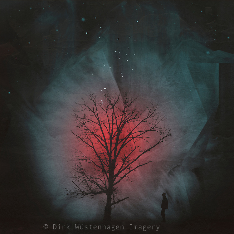tree silhouette and a man in an dark surreal environment - digital painting