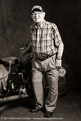 Grover Sassaman is the retired 98-year old founder and proprietor of Harley-Davidson of Macon, Georgia who is seen here with Bob Zeolla's 1939 Harley-Davidson EL during the Cross Country Chase motorcycle endurance run from Sault Sainte Marie, MI to Key West, FL (for vintage bikes from 1930-1948). Photographed at the end of the Stage 6 ride from Chattanooga, TN to Macon, GA USA. Wednesday, September 11, 2019. Photography ©2019 Michael Lichter.