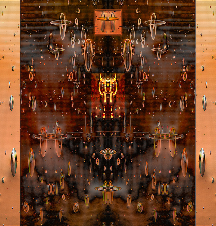"""""""McLeod's Solar System"""", derivative image created from a photo of a leaded glass window, autumn, November, entry door to private residence, Tacoma, Washington, USA"""