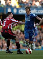 Photo: Tony Oudot.<br />Chelsea v Sheffield United. The Barclays Premiership. 17/03/2007.<br />Arjen Robben of Chelsea goes past Chris Morgan of Sheffield United